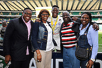 Maro Itoje of Saracens with his family after the Aviva Premiership Rugby Final between Bath Rugby and Saracens at Twickenham Stadium on Saturday 30th May 2015 (Photo by Rob Munro)