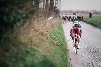Antoine Duchesne (CAN/Groupama - FDJ) over the cobbles of the Holle Weg<br /> <br /> 71th Kuurne-Brussel-Kuurne 2019 <br /> Kuurne to Kuurne (BEL): 201km<br /> <br /> ©kramon