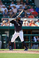 Detroit Tigers right fielder Ronny Rodriguez (60) at bat during a Grapefruit League Spring Training game against the Atlanta Braves on March 2, 2019 at Publix Field at Joker Marchant Stadium in Lakeland, Florida.  Tigers defeated the Braves 7-4.  (Mike Janes/Four Seam Images)