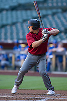 Arizona Diamondbacks catcher Daulton Varsho (23) at bat during an Instructional League game against the Kansas City Royals at Chase Field on October 14, 2017 in Phoenix, Arizona. (Zachary Lucy/Four Seam Images)
