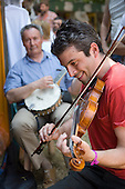 Cajun fiddle and banjo players at the 31st International Festival of Luthiers and Maitres Sonneurs, in Saint Chartier, France.