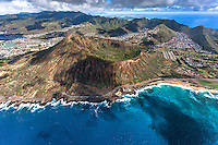 An aerial view of Sandy Beach, Koko Crater and the surrounding Southeast O'ahu neighborhood.