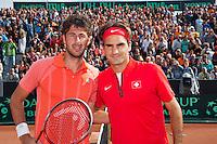 16-09-12, Netherlands, Amsterdam, Tennis, Daviscup Netherlands-Suisse, Robin Haase (L) and Roger Federer