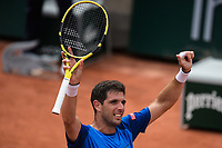 4th July 2021; Roland Garros, Paris France; French Open tennis championships day 6;  Federico Delbonis ( Arg) celebrates his victory