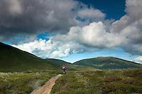 A mountain biker on the Lairig an Laoigh, Cairngorm National Park, Badenoch & Speyside