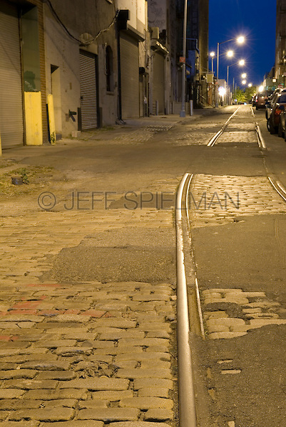 AVAILABLE FROM JEFF AS A FINE ART PRINT.<br /> <br /> AVAILABLE FROM JEFF FOR COMMERCIAL AND EDITORIAL LICENSING.<br /> <br /> Mysterious Street Scene at Dusk in the Vinegar Hill Neighborhood of Brooklyn, New York City, New York State, USA