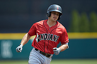Max Moroff (2) of the Indianapolis Indians rounds the bases after hitting a home run against the Columbus Clippers at Huntington Park on June 17, 2018 in Columbus, Ohio. The Indians defeated the Clippers 6-3.  (Brian Westerholt/Four Seam Images)
