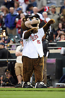 April 2, 2010: Mascot of the Minnesota Twins in the first professional baseball game played at the Twins new home, Target Field. Photo by: Chris Proctor/Four Seam Images