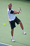 Xavier Malisse of Belgium during his quarterfinal match at the Citi Open in Washington, DC on August 3, 2012.