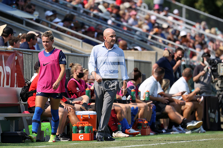 CARY, NC - SEPTEMBER 12: Head coach Paul Riley of the North Carolina Courage watches from the sideline during a game between Portland Thorns FC and North Carolina Courage at Sahlen's Stadium at WakeMed Soccer Park on September 12, 2021 in Cary, North Carolina.