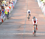 Wales' Amy Roberts leads Canada's Laura Brown over the finish line<br /> <br /> Photographer Chris Vaughan/Sportingwales<br /> <br /> 20th Commonwealth Games - Day 8 - Wednesday 30st July 2014 - Cycling - time trial - Glasgow - UK
