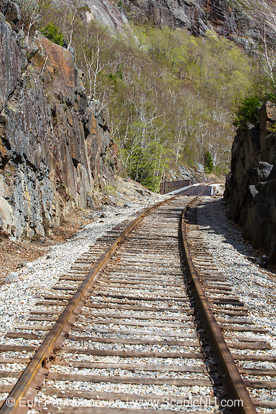 Crawford Notch State Park - Willey Brook Trestle along the old Maine Central Railroad in the White Mountains, New Hampshire USA during the spring months. This railroad is now used by the Conway Scenic Railroad