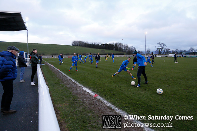 Penrith players  warming up. Penrith AFC V Hebburn Town, Northern League Division One, 22nd December 2018. Penrith are the only Cumbrian team in the Northern League. All the other teams are based across the Pennines in the north east.<br /> Penrith, winless at kick off, lost a thriller 3-4, in front of 100 people. They won five games all season, but were reprieved from relegation following Blyth's resignation from the league.