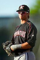 Kannapolis Intimidators first baseman Michael Marjama (12) on defense against the Hickory Crawdads at L.P. Frans Stadium on May 25, 2013 in Hickory, North Carolina.  The Crawdads defeated the Intimidators 14-3.  (Brian Westerholt/Four Seam Images)
