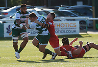 Matt Cornish of Ealing Trailfinders is tackled by Brendan Cope of Jersey Reds during the Greene King IPA Championship match between Ealing Trailfinders and Jersey at Castle Bar, West Ealing, England  on 19 October 2019. Photo by Alan Stanford / PRiME Media Images
