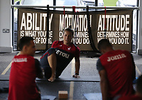 An Ability, Motivation, Attitude banner in the gym during the Swansea City Training at The Fairwood Training Ground, Swansea, Wales, UK. Thursday 10 August 2017