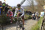 The breakaway group including Manuel Belletti (ITA) AG2R La Mondiale, Vladimir Isaichev (RUS) Katusha and Tom Veelers (NED) Argos-Shimano climb Koppenberg during the 96th edition of The Tour of Flanders 2012, running 256.9km from Bruges to Oudenaarde, Belgium. 1st April 2012. <br /> (Photo by Eoin Clarke/NEWSFILE).