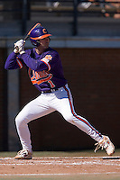J.D. Burgess (1) of the Clemson Tigers at bat versus the Wake Forest Demon Deacons during the first game of a double header at Gene Hooks Stadium in Winston-Salem, NC, Sunday, March 9, 2008.
