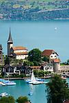 CHE, Schweiz, Kanton Bern, Berner Oberland, Spiez: Schlosskirche am Thunersee   CHE, Switzerland, Bern Canton, Bernese Oberland, Spiez: castle church at Lake Thun