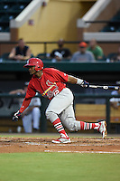 Palm Beach Cardinals shortstop Juan Herrera (12) at bat during a game against the Lakeland Flying Tigers on April 13, 2015 at Joker Marchant Stadium in Lakeland, Florida.  Palm Beach defeated Lakeland 4-0.  (Mike Janes/Four Seam Images)