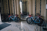As the the stage start is only a few 100 meters away, the (team Wanty-Groupe Gobert) rider's bikes are stalled in the team hotel entrance; out of their rooms, onto their bikes...<br /> <br /> 104th Tour de France 2017<br /> Stage 5 - Vittel › La Planche des Belles Filles (160km)