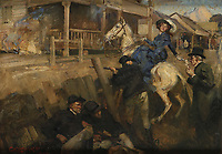 BNPS.co.uk (01202 558833)<br /> Pic: Woolley&Wallis/BNPS<br /> <br /> A stirring oil painting of the dramatic last stand of the notorious outlaw Ned Kelly and his gang has sold for almost £100,000.<br /> <br /> The artwork, which depicts the bloody 1880 siege of Glenrowan, sparked a bidding war among determined Australian collectors.<br /> <br /> It fetched over six times its £15,000 pre-sale estimate when it went under the hammer with Sworders, of Stansted Mountfitchet, Essex.<br /> <br /> The Kelly gang, fed up of life on the run, took 60 hostages at a hotel and had a shoot-out with police as they approached.