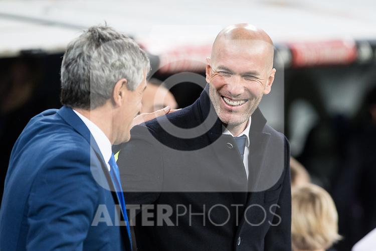 Quique Setien coach of UD Las Palmas and Zinedine Zidane coach  of Real Madrid  during the match of Spanish La Liga between Real Madrid and UD Las Palmas at  Santiago Bernabeu Stadium in Madrid, Spain. March 01, 2017. (ALTERPHOTOS / Rodrigo Jimenez)