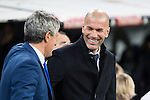 Quique Setien coach of UD Las Palmas and Zinedine Zidane coach  of Real Madrid  during the match of Spanish La Liga between Real Madrid and UD Las Palmas at  Santiago Bernabeu Stadium in Madrid, Spain. March 01, 2017. (ALTERPHOTOS / Rodrigo Jimenez)