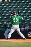 Jon Leroux (33) of the Savannah Sand Gnats at bat against the Hickory Crawdads at L.P. Frans Stadium on June 14, 2015 in Hickory, North Carolina.  The Crawdads defeated the Sand Gnats 8-1.  (Brian Westerholt/Four Seam Images)