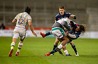 20th November 2020; AJ Bell Stadium, Salford, Lancashire, England; English Premiership Rugby, Sale Sharks versus Northampton Saints;  Ahsee Tuala of Northampton Saints is tackled by  Marland Yarde of Sale Sharks