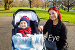 Enjoying a walk in the Tralee Town park on Tuesday, l to r: Mason and Gouda Andrikyte