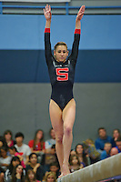 LOS ANGELES, CA - February 5, 2012:  Stanford's Amanda Spinner during competition against the UCLA Bruins at the Wooden Center.   UCLA defeated Stanford, 197.250 - 196.450.