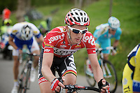 Jurgen Van den Broeck (BEL/Lotto-Belisol) up the 'steepest climb' in Holland: Keutenberg (22%)<br /> <br /> Amstel Gold Race 2014