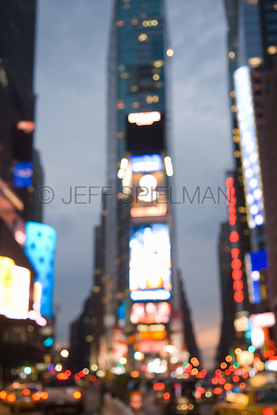 This image can be purchasd from Jeff as a fine art print.<br /> <br /> Times Square at Dusk-Defocussed View, New York City, New York, USA.