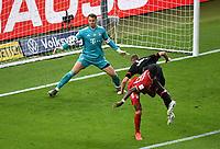 v. l. Manuel Neuer (FC Bayern Muenchen), David Alaba (FC Bayern Muenchen), Sven Bender (Bayer Leverkusen) Goal scored, erziehlt das Tor zum 1:3<br /> <br /> Fussball, Herren, Saison 2019/2020, 77. Finale um den DFB-Pokal in Berlin, Bayer 04 Leverkusen - FC Bayern München, 04.07. 2020, Foto: Matthias Koch/POOL/Marc Schueler/Sportpics.de