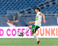 FOXBOROUGH, MA - AUGUST 26: Alex Morrell #7 of Greenville Triumph SC volley kicks the ball during a game between Greenville Triumph SC and New England Revolution II at Gillette Stadium on August 26, 2020 in Foxborough, Massachusetts.