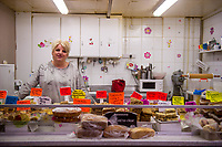 Thursday 02 March 2017<br /> Pictured: Anne Binding, owner of the cake shop in the undercover market, Bridgend <br /> Re: Ford expects to cut more than 1,100 jobs from its Bridgend plant by 2021, casting doubt on the future of the Welsh engine facility.