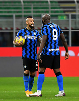 Football Soccer: Tim Cup Quarter Finals InternazionaleMIlan vs Milan, Giuseppe Meazza Stadium (San Siro) Milan, on January 26, 2021.<br /> Inter's Romelu Lukaku (r) celebrates after scoring with his teammate Arturo Vidal (l) during the Italian Tim Cup football match between Inter  and Milan at the Giuseppe Meazza stadium in Milan, January 26, 2021.<br /> UPDATE IMAGES PRESS/Isabella Bonotto