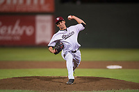 Idaho Falls Chukars relief pitcher Ted Cillis (24) delivers a pitch during a Pioneer League game against the Billings Mustangs at Melaleuca Field on August 22, 2018 in Idaho Falls, Idaho. The Idaho Falls Chukars defeated the Billings Mustangs by a score of 5-3. (Zachary Lucy/Four Seam Images)