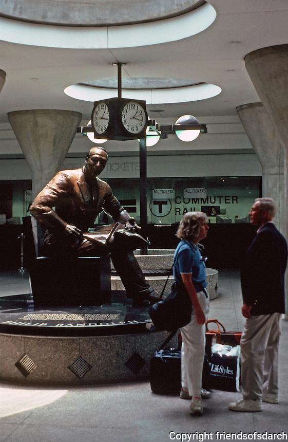 Boston: Bronze sculpture of  A. Philip Randolph, Civil Rights leader. Sculptor Tina Allen at T Station,  Back Bay.  Photo '91.
