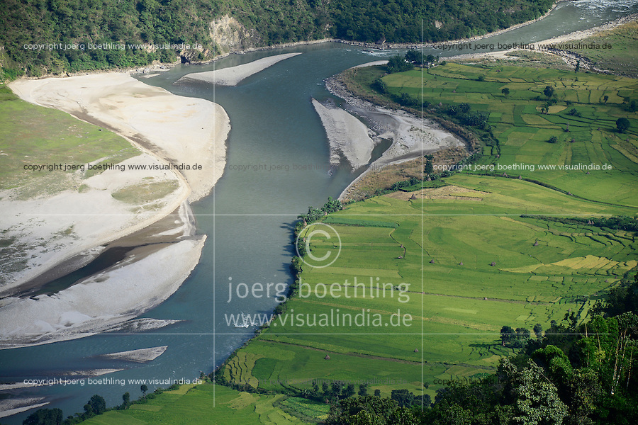 NEPAL, Dolalghat, village Koshideka, paddy fields in valley of river Sunkoshi / Reisfelder im Flusstal des Fluss Sunkoshi