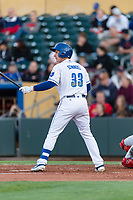 Omaha Storm first baseman Frank Schwindel (33) during a Pacific Coast League game against the Memphis Redbirds on April 26, 2019 at Werner Park in Omaha, Nebraska. Memphis defeated Omaha 7-3. (Zachary Lucy/Four Seam Images)