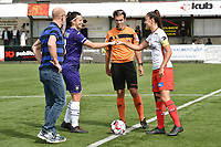 referee Christophe Carrein with Anderlecht's defender Laura De Neve (L) and Zulte Waregem's defender Romy Camps (R) pictured during a female soccer game between SV Zulte - Waregem and RSC Anderlecht Dames on the second matchday of the 2020 - 2021 season of Belgian Scooore Women s SuperLeague , saturday 5 th of September 2020  in Zulte , Belgium . PHOTO SPORTPIX.BE | SPP | DIRK VUYLSTEKE