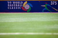 7 March 2009: World Baseball Classic illustration is seen on a wall during the 2009 World Baseball Classic Pool D match at Hiram Bithorn Stadium in San Juan, Puerto Rico. Netherlands pulled off a huge upset in their World Baseball Classic opener with a 3-2 victory over Dominican Republic.