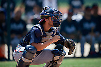 GCL Braves catcher Javier Valdes (11) during a Gulf Coast League game against the GCL Pirates on July 30, 2019 at Pirate City in Bradenton, Florida.  GCL Braves defeated the GCL Pirates 10-4.  (Mike Janes/Four Seam Images)