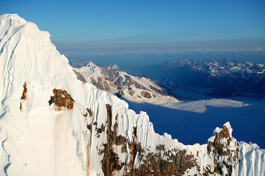 Mountains, snow and ice around Mount Blackburn (16,390 feet) in Wrangell Saint Elias National Park and Preserve, Alaska