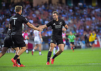 Kurt Baker congratulates Scott Curry on his try during the men's pool match between New Zealand and USA. Day one of the 2020 HSBC World Sevens Series Hamilton at FMG Stadium in Hamilton, New Zealand on Saturday, 25 January 2020. Photo: Dave Lintott / lintottphoto.co.nz