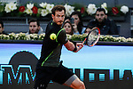 Andy Murray from USA celebrates his victory at Madrid Open tennis tournament match against Milos Raonic from Canada in Madrid, Spain. May 08, 2015. (ALTERPHOTOS/Victor Blanco)
