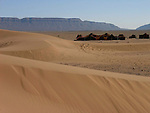 Berber tents and sand dunes on the edge of the Sahara Desert near Tamegroute in Morocco.