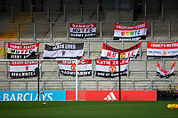 6th September 2020; Leigh Sports Village, Lancashire, England; Women's English Super League, Manchester United Women versus Chelsea Women; Flags in the stands as no fans present